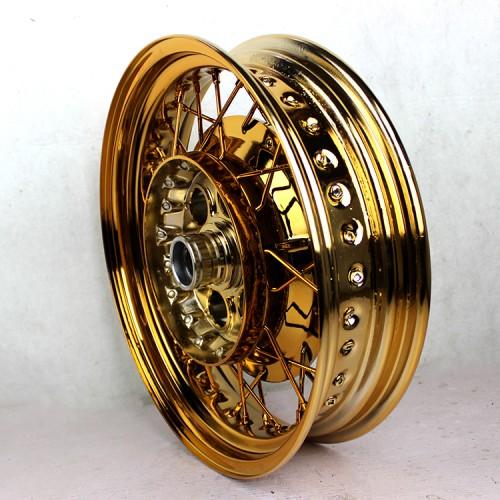 摩托车轮毂改电镀土豪金_志琦轮毂电镀