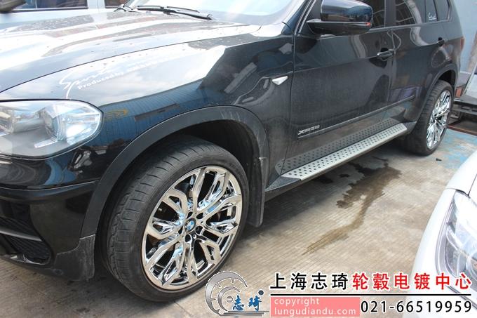 宝马x5原车21寸拉丝轮毂改电镀白_志琦轮毂电镀