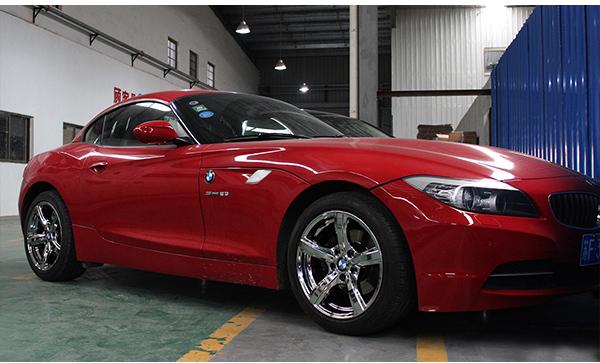 宝马z4红色车身轮毂改电镀白 新年新气象_志琦轮毂电镀