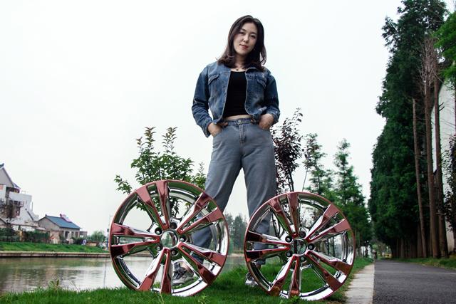 奔驰拉丝轮毂改电镀玫瑰金加电镀白双色_志琦轮毂电镀